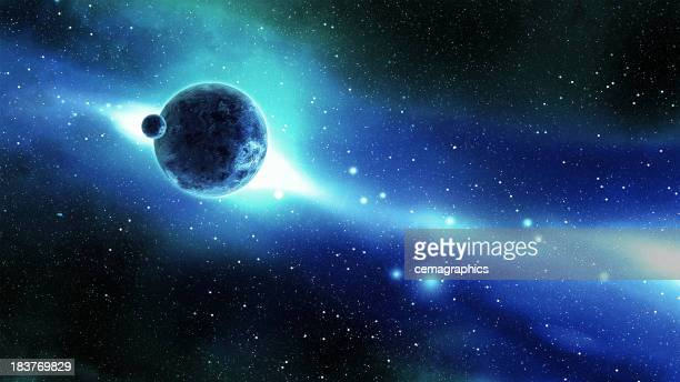 Erde und Mond im Raum über der Galaxy