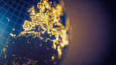 Abstract image of Europe's city lights with bokeh. City lights texture credits to NASA.
