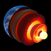 Earth core structure illustrated with geological layers according to scale - isolated on black  (Elements of this 3d image furnished by NASA -  texture maps from http://visibleearth.nasa.gov/)