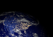 Extremely detailed render using the latest NASA imagery of the Earth at night. Other orientations available.