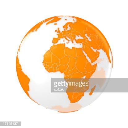 Earth globe orange stock photo getty images for Plante orange