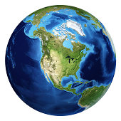 Earth globe, realistic 3D rendering. North America view. At white background.