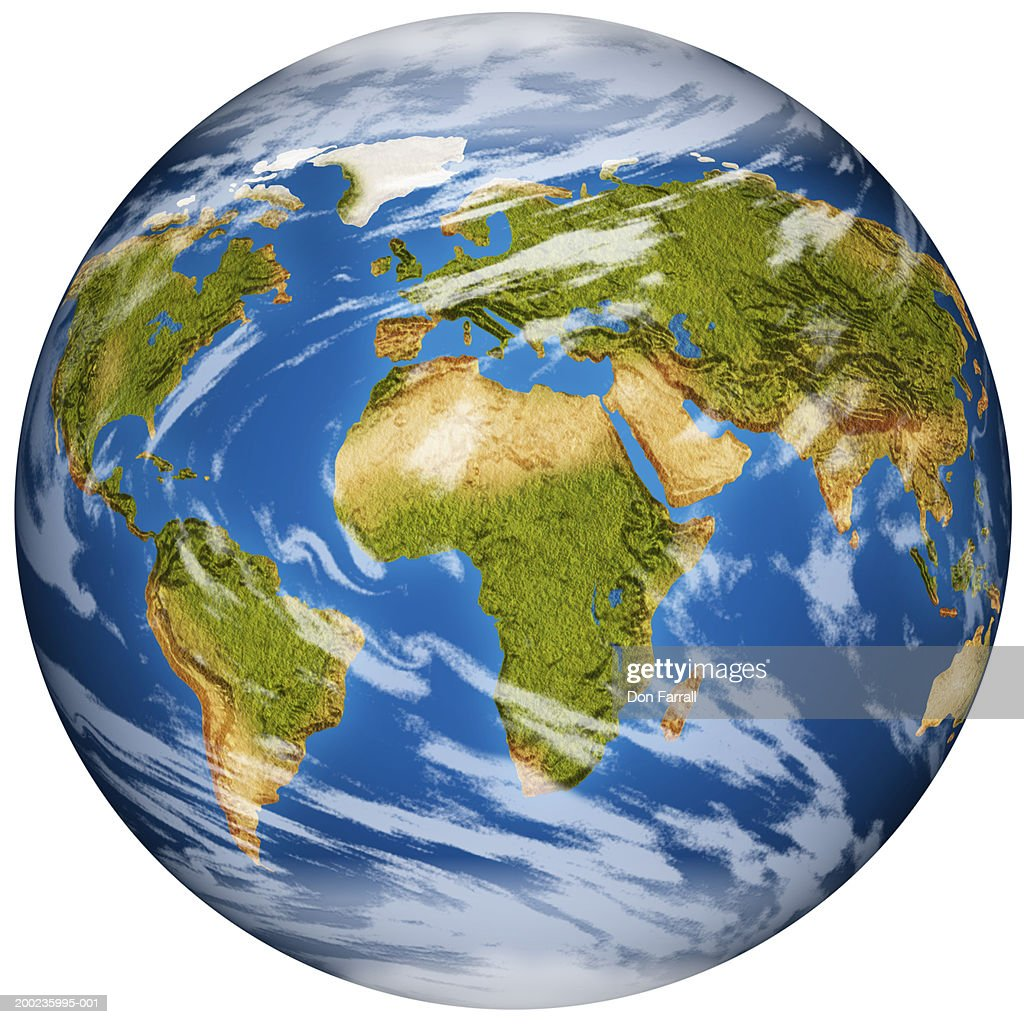 Earth globe showing all continents (Digital Composite) : Stock Photo