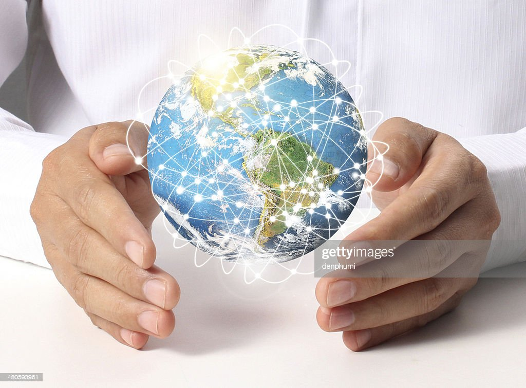 earth in human hand : Stock Photo