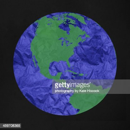 earth made of paper : Stock Photo