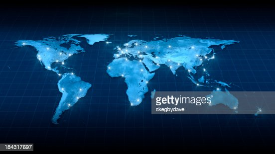 Earth Map City Lights Top view