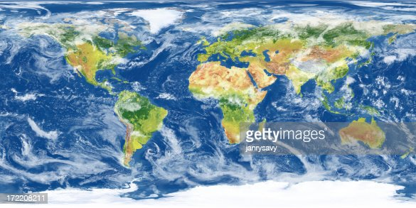 Earth Map with Clouds (XXXL)