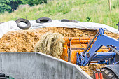 Earth Mover Carrying Dry Grass At Farm