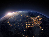 Earth night from space. USA view.