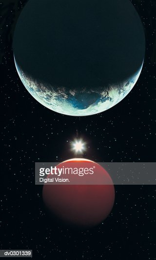 Earth, Red Planet and Sun : Stock Photo