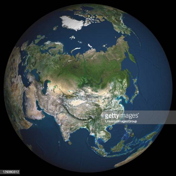 Earth True colour satellite image of the Earth centred on Asia The North Pole is at upper centre Water is blue vegetation is green arid areas are...