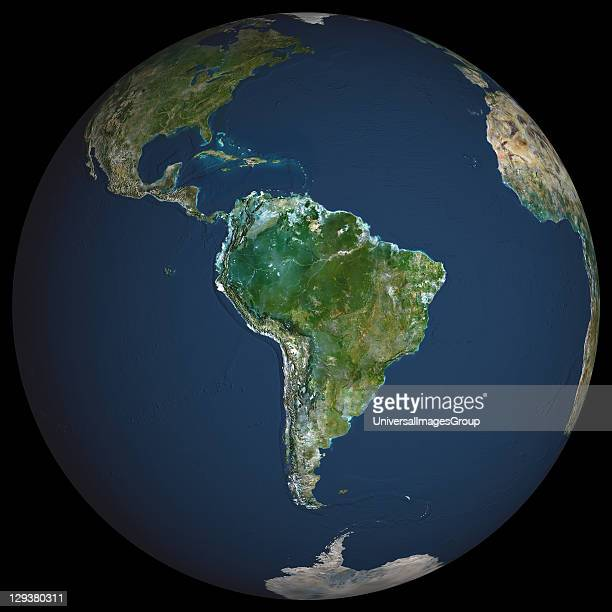 Earth True colour satellite image of the Earth centred on South America North is at top Water is blue vegetation is green arid areas are brown and...