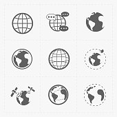 This is a vector illustration of Earth vector icons set on white background.