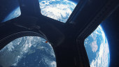 Earth view from space from the window of the international space station 3d illustration, element of this image finished by nasa