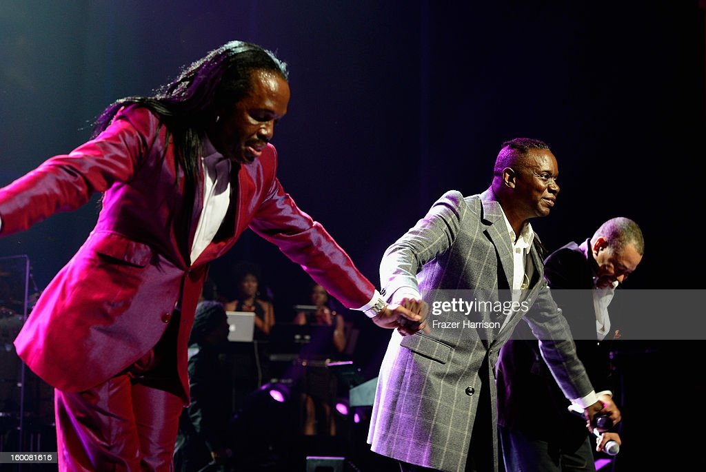 Earth Wind and Fire celebrating Yamaha's 125th Anniversary Live Around the World Dealer Concert performs at the Hyperion Theater on January 25, 2013 in Anaheim, California.