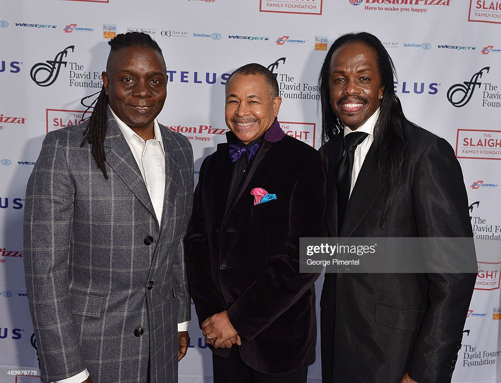 Earth, Wind and Fire (L-R) <a gi-track='captionPersonalityLinkClicked' href=/galleries/search?phrase=Philip+Bailey+-+Musician&family=editorial&specificpeople=217868 ng-click='$event.stopPropagation()'>Philip Bailey</a>, <a gi-track='captionPersonalityLinkClicked' href=/galleries/search?phrase=Ralph+Johnson+-+Musician&family=editorial&specificpeople=12864218 ng-click='$event.stopPropagation()'>Ralph Johnson</a> and <a gi-track='captionPersonalityLinkClicked' href=/galleries/search?phrase=Verdine+White&family=editorial&specificpeople=211265 ng-click='$event.stopPropagation()'>Verdine White</a> attend the David Foster Foundation Benefit Concert at Allstream Centre on December 5, 2013 in Toronto, Canada.
