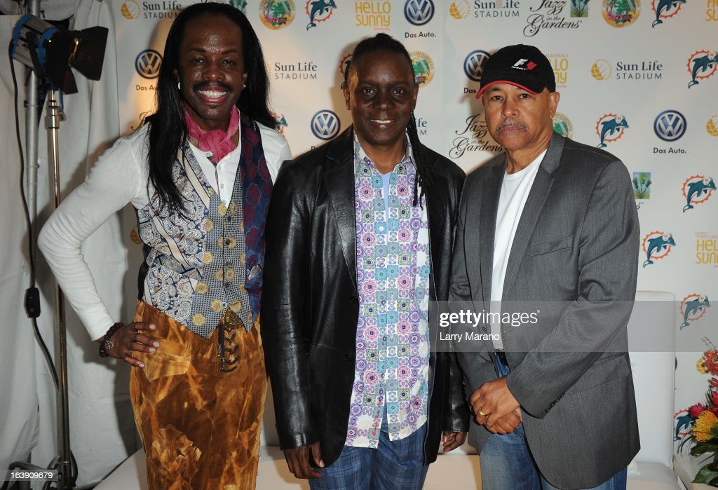 Earth, Wind & Fire members Verdine White, Philip Bailey and Ralph Johnson pose backstage at the 8th Annual Jazz in the Gardens Day 2 at Sun Life Stadium presented by the City of Miami Gardens on March 17, 2013 in Miami Gardens, Florida.