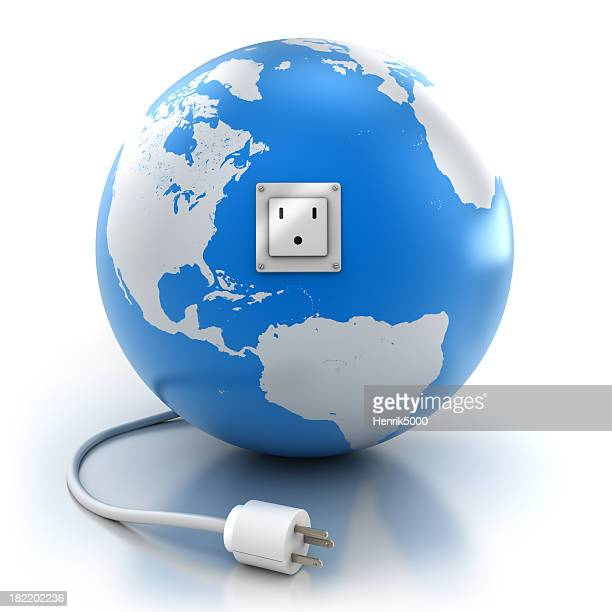 Earth with power socket and plug, isolated / clipping path