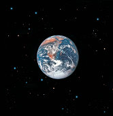 Earth with star background