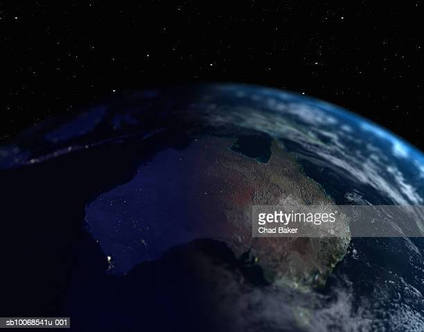 Earth with view of Australia, close up, view from space
