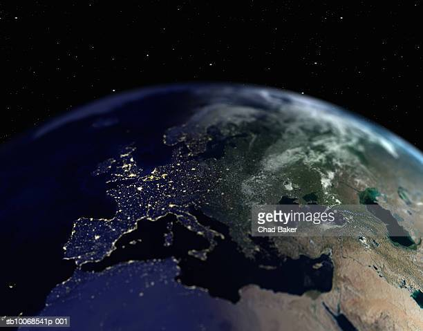 Earth with view of Europe, close up, view from space