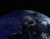 Earth with view of Japan and Southeast Asia, close up, view from space