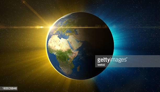 Tierra-Europa y África región