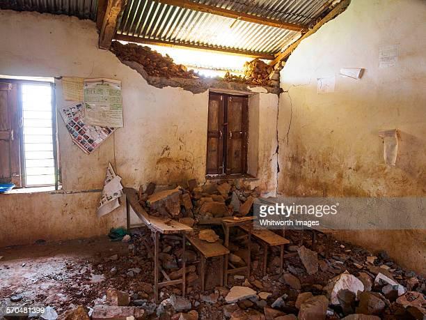Earthquake damage to village school room, Nepal