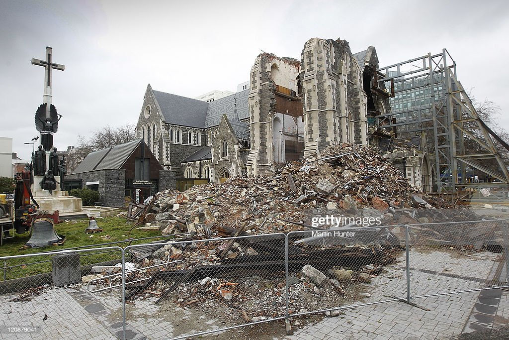 Earthquake damaged Christchurch Cathedral is seen during a during a earthquake recovery update visit on August 12 2011 in Christchurch New Zealand