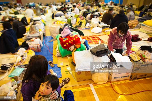 Earthquake victims gather at the evacuation center in Kamaishi on March 24 2011 in Iwate Prefecture Japan The 90 magnitude strong earthquake struck...