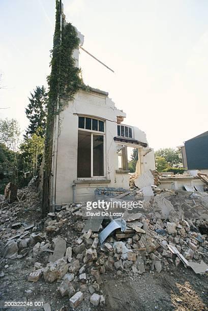 Earthquake wracked house, low angle view