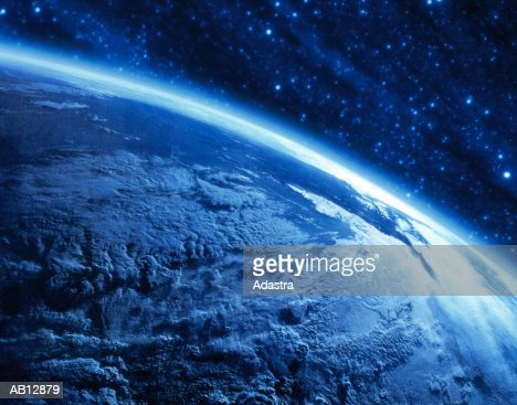 Earth's curvature view from space (digital composite & enhancement) : Stock Photo