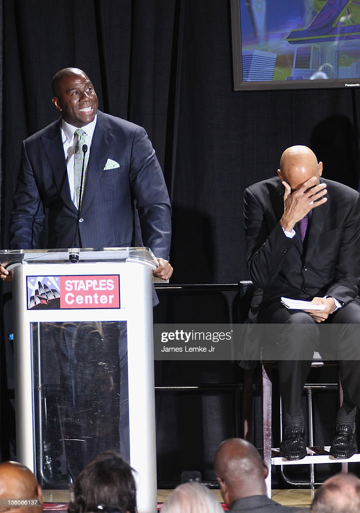 Earvin 'Magic' Johnson and <a gi-track='captionPersonalityLinkClicked' href=/galleries/search?phrase=Kareem+Abdul-Jabbar&family=editorial&specificpeople=206219 ng-click='$event.stopPropagation()'>Kareem Abdul-Jabbar</a> attends the <a gi-track='captionPersonalityLinkClicked' href=/galleries/search?phrase=Kareem+Abdul-Jabbar&family=editorial&specificpeople=206219 ng-click='$event.stopPropagation()'>Kareem Abdul-Jabbar</a> Statue Unveiling held at the Staples Center on November 16, 2012 in Los Angeles, California.