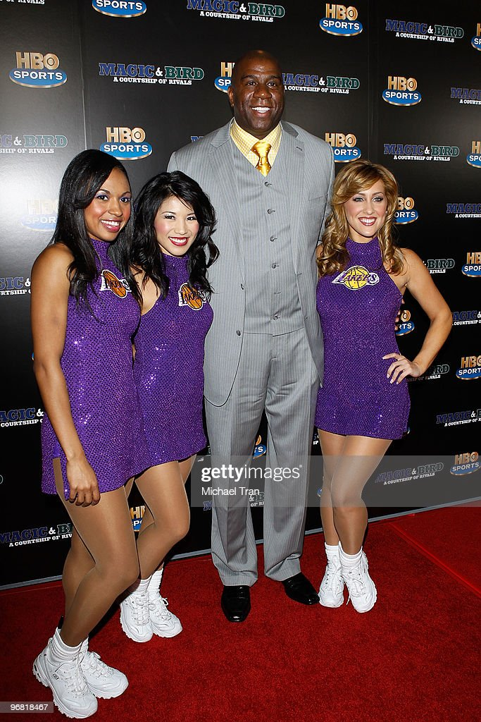 Earvin 'Magic' Johnson and The Laker Girls attend the Los Angeles premiere of HBO's 'Magic And Bird A Courtship Of Rivals' held at Mann Bruin Theatre...