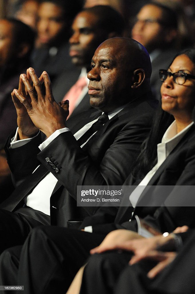 Earvin Magic Johnson attends the memorial service for Los Angeles Lakers Owner Dr. Jerry Buss at Nokia Theatre LA LIVE on February 21, 2013 in Los Angeles, California.
