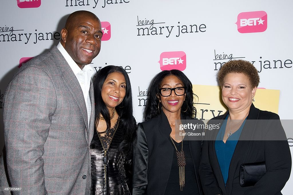 Earvin 'Magic' Johnson, <a gi-track='captionPersonalityLinkClicked' href=/galleries/search?phrase=Cookie+Johnson&family=editorial&specificpeople=846852 ng-click='$event.stopPropagation()'>Cookie Johnson</a>, Robbie Reed and Debra Lee attend the New Series 'Being Mary Jane' Los Angeles Premiere on December 16, 2013 in Los Angeles, California.