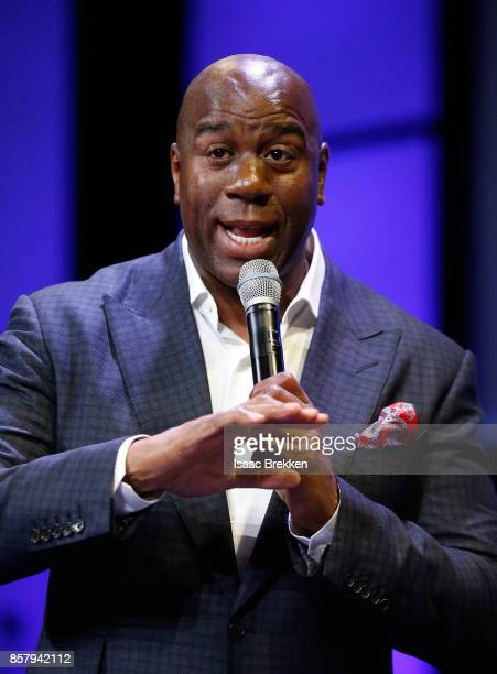 Earvin 'Magic' Johnson delivers a keynote address at Global Gaming Expo on October 5 2017 in Las Vegas Nevada