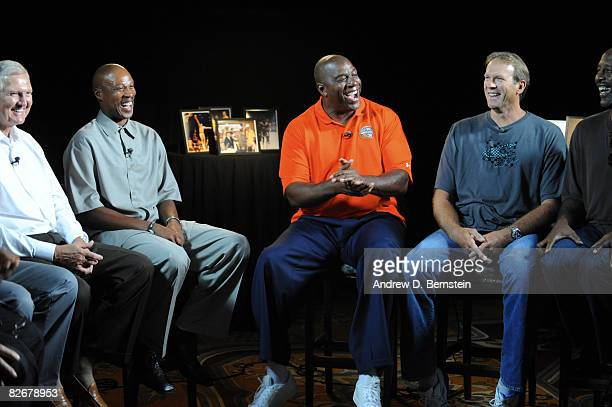 Earvin 'Magic' Johnson jokes with Byron Scott and Kurt Rambis during a roundtable discussion on September 5 2008 at the Springfield Sheraton in...
