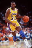 Earvin Magic Johnson of the Los Angeles Lakers in action against the Portland Trailblazers Mandatory Credit Stephen Dunn/Allsport