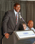 Earvin 'Magic' Johnson one of the top stars of the Los Angeles Lakers basketball team speaks during a press conference 07 November 1991 in Los...