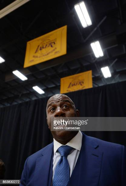 Earvin 'Magic' Johnson president of basketball operations of the Los Angeles Lakers speaks during media day September 25 in El Segundo California...