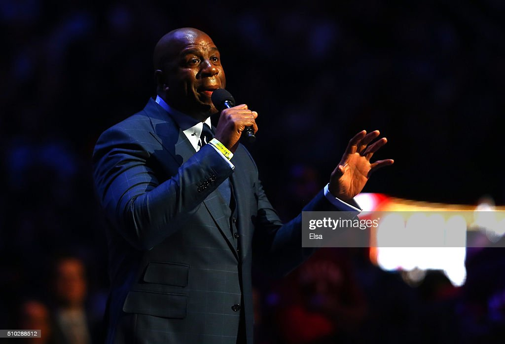 Earvin Magic Johnson speaks about Kobe Bryant of the Los Angeles Lakers and the Western Conference before the NBA AllStar Game 2016 at the Air Canada...