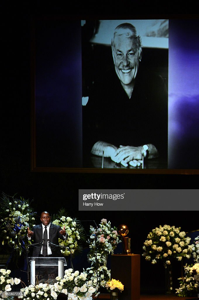 Earvin 'Magic' Johnson speaks during a memorial service for Los Angeles Lakers owner Dr. Jerry Buss at the Nokia Theatre L.A. Live on February 21, 2013 in Los Angeles, California. Dr. Buss died at the age of 80 on Monday following an 18-month battle with cancer. Buss won 10 NBA championships as Lakers owner since purchasing the team in 1979.