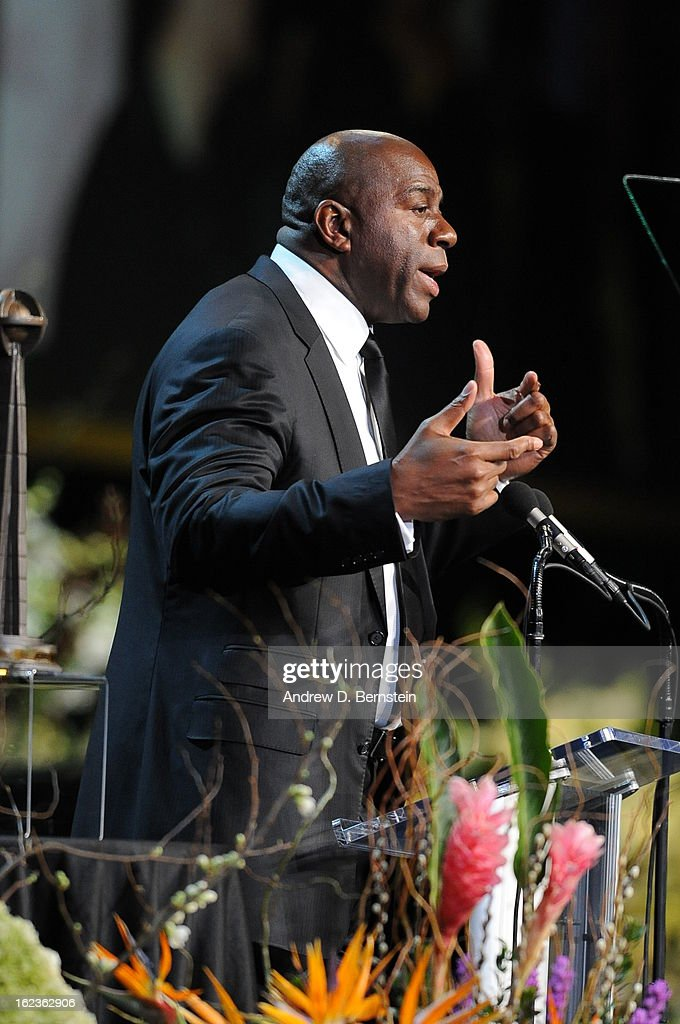 Earvin Magic Johnson speaks during the memorial service for Los Angeles Lakers Owner Dr. Jerry Buss at Nokia Theatre LA LIVE on February 21, 2013 in Los Angeles, California.