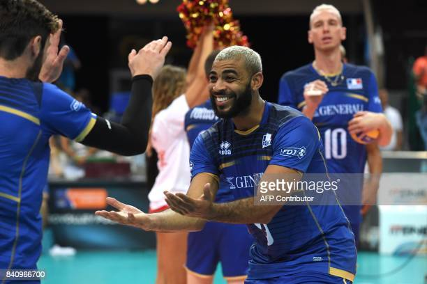 Earvin Ngapeth of France celebrates during presentation prior the playoff phase match between France and Czech Republic of the 2017 CEV Men's...