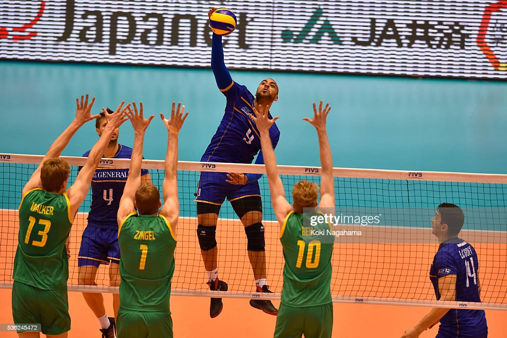 Earvin Ngapeth #9 of France spikes the ball during the Men's World Olympic Qualification game between France and Australia at Tokyo Metropolitan Gymnasium on June 1, 2016 in Tokyo, Japan.