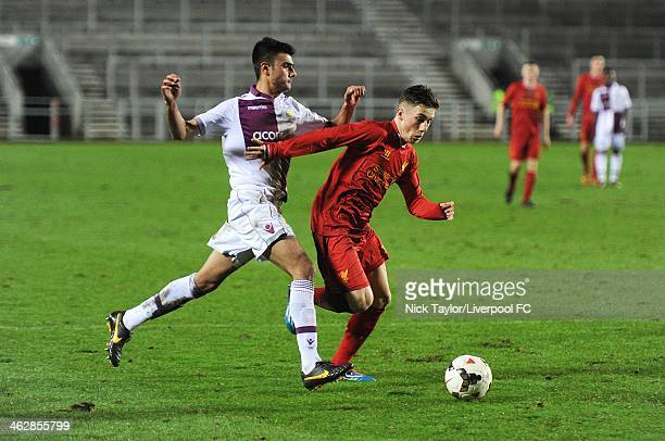 Easah Suliman of Aston Villa and Harry Wilson of Liverpool in action during the FA Youth Cup Fourth Round fixture between Liverpool and Aston Villa...