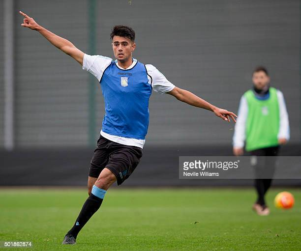 Easah Suliman of Aston Villa in action during a Aston Villa training session at the club's training ground at Bodymoor Heath on December 18 2015 in...