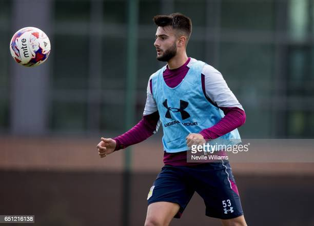 Easah Suliman of Aston Villa in action during a Aston Villa training session at the club's training ground at Bodymoor Heath on March 10 2017 in...