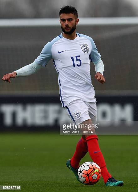 Easah Suliman of England in action during the UEFA U19 International Qualifier between England and Norway at St Georges Park on March 22 2017 in...